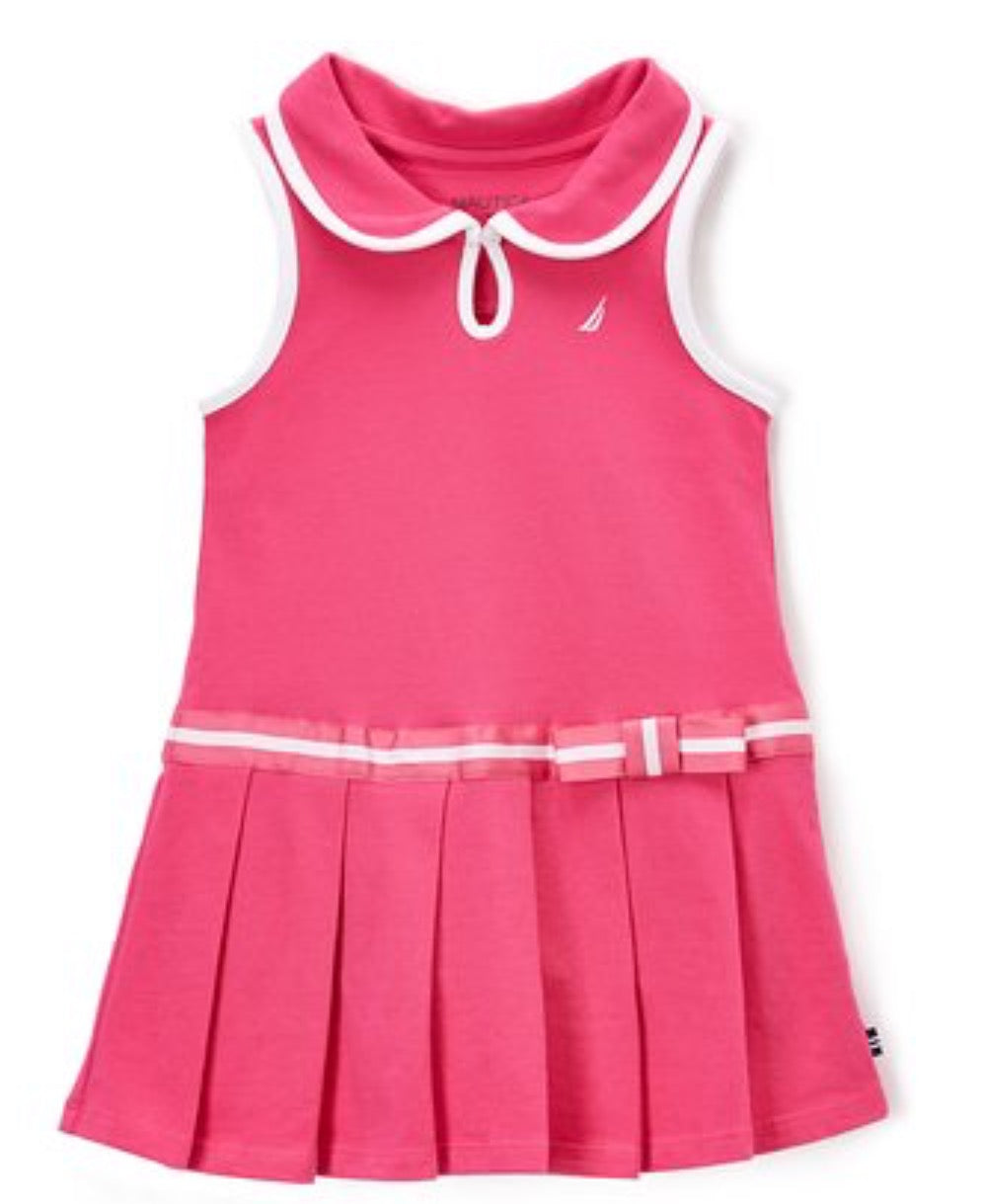 Girls Nautica Medium Pink Pleated Drop Waist Dress - Toddler
