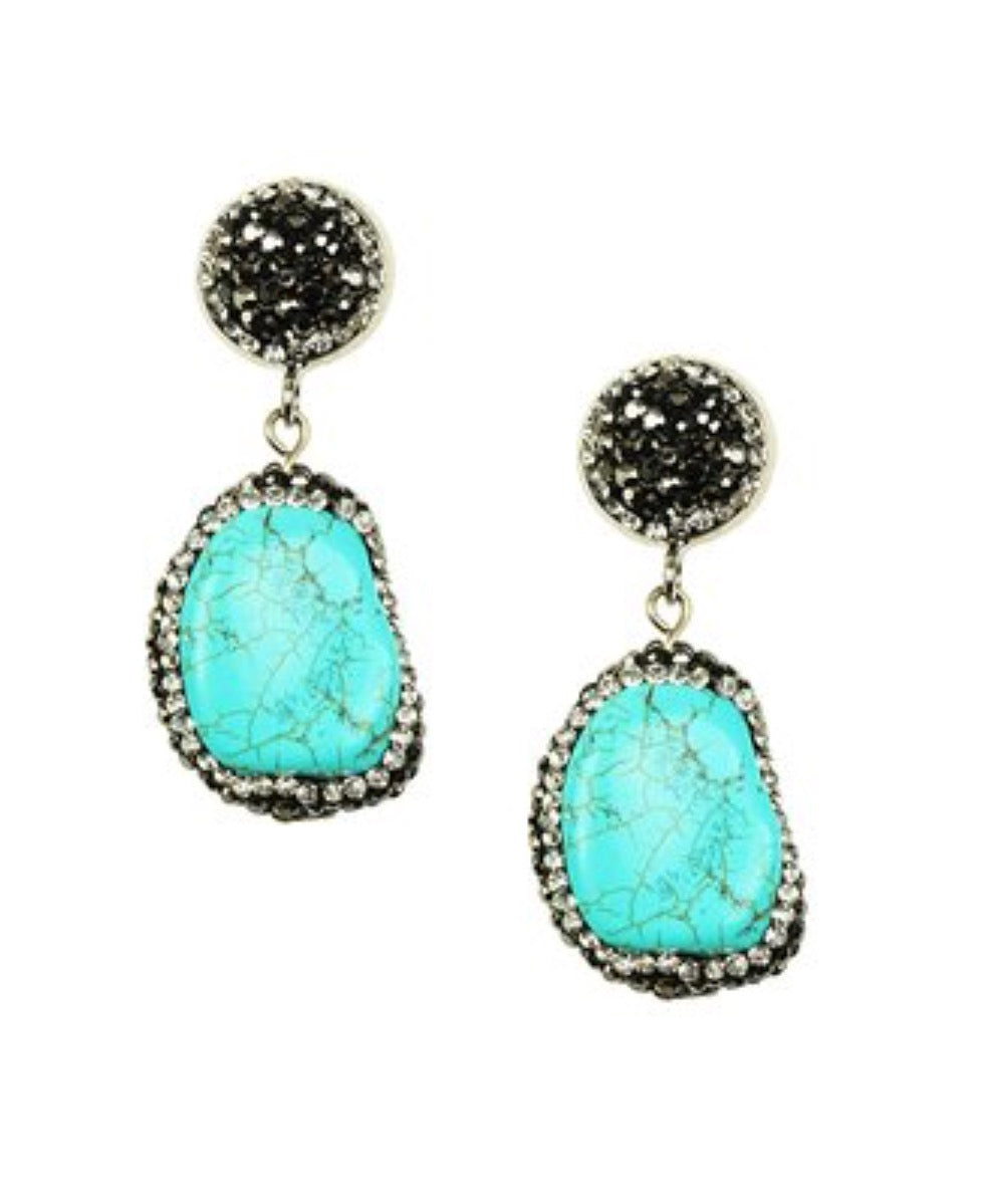 Turquoise Howlite Dazzling Drop Earrings
