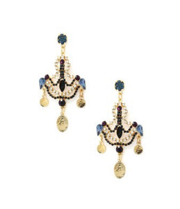 Earrings - Blue & Goldtone Chandelier Drop Earrings