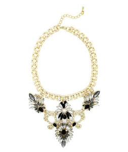 Necklace - Black & Goldtone  Swan Necklace