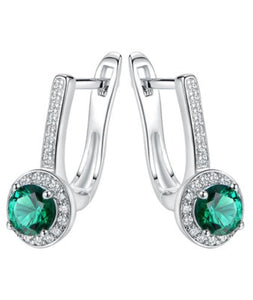 Bangle & Earrings - Emerald & Cubic Zirconia Cuff & Huggie Earrings with Swarovski Crystals