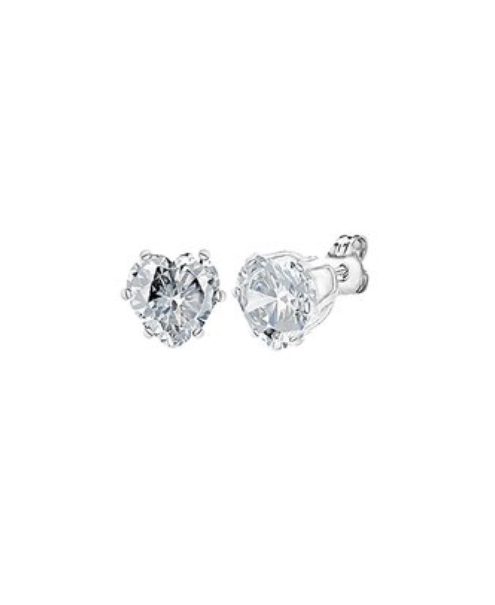 Earrings - Heart Stud Earrings White Gold  Swarovski® Crystals