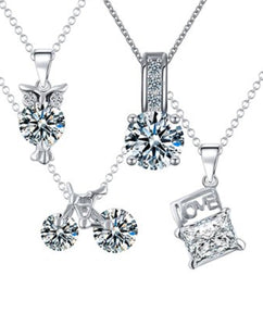 Necklace - White Gold Pendant Set with Swarovski® Crystals