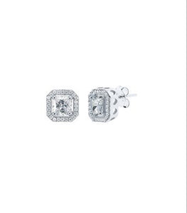 Halo Stud Earrings in Sterling Silver With Swarovski® Crystals