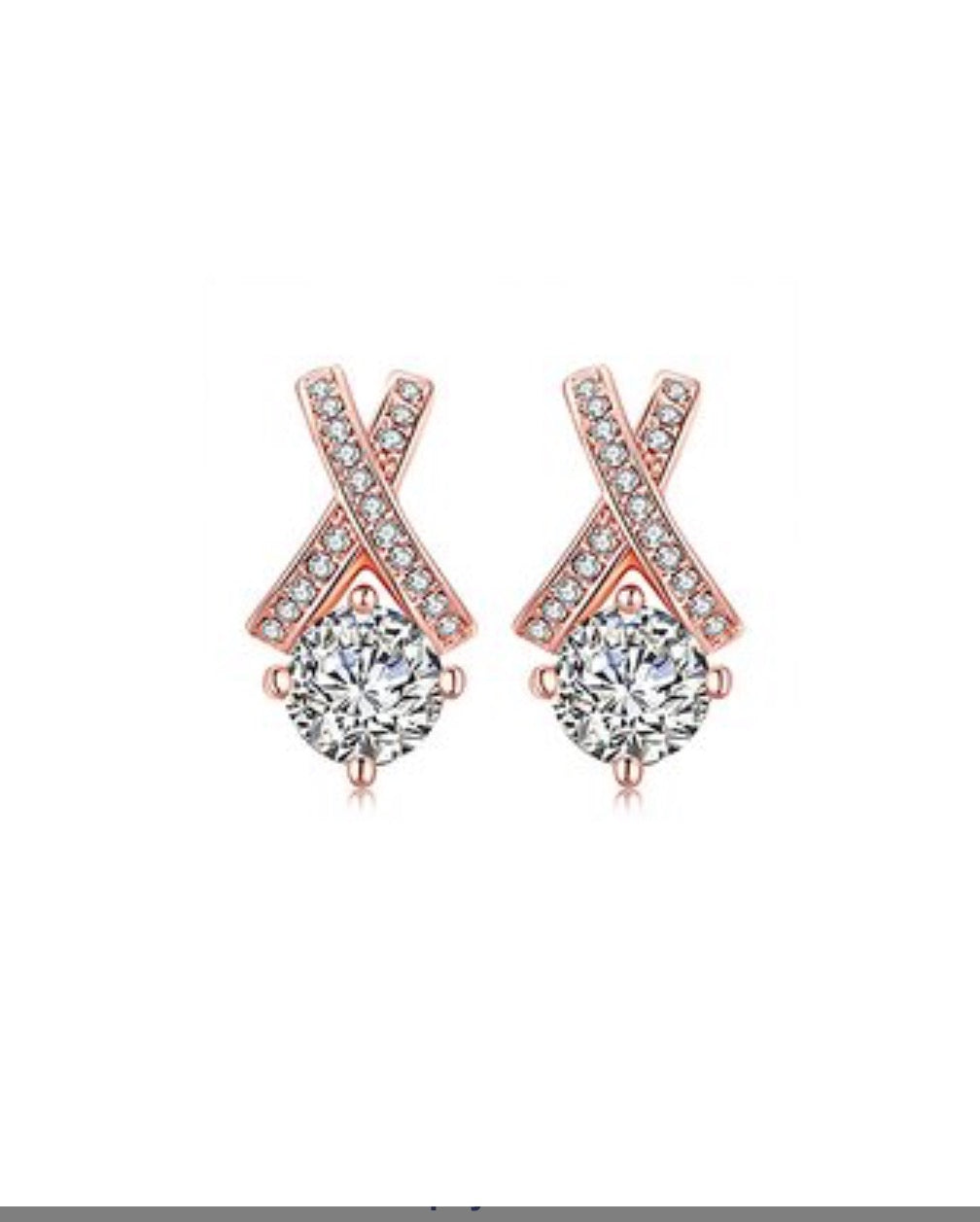Rose Gold & Zirconia 'X' Stud Earrings