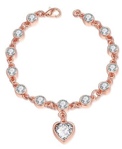 Bracelet - Rose Gold & Cubic Zirconia Heart
