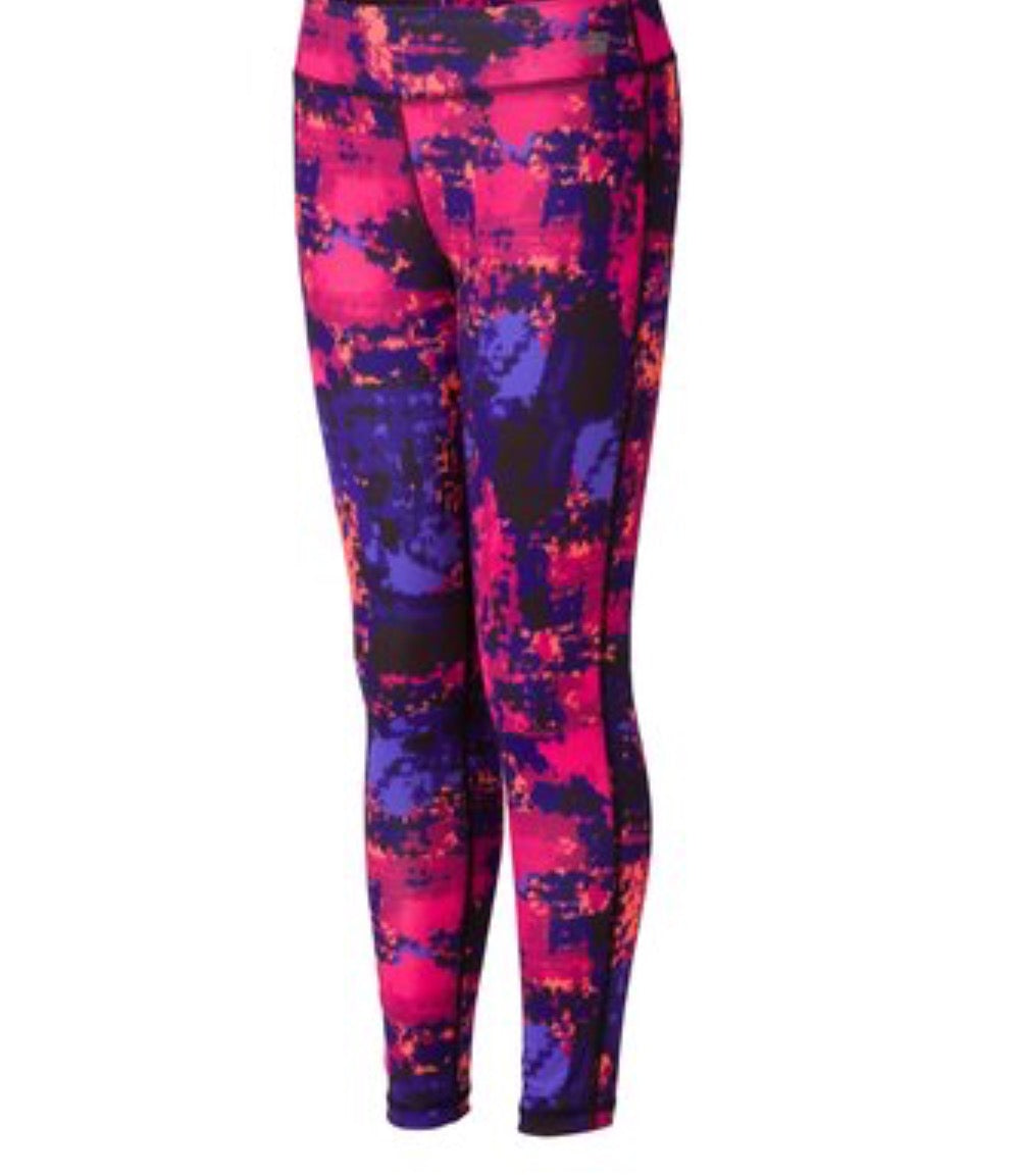 Alpha Pink  & Abstract Brush Fashion Tights - Girls