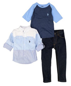Color Block Long Sleeve Top, Tee & Jeabs Set- Toddler Boys