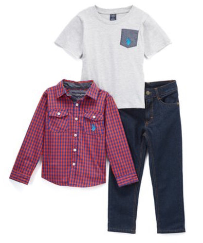 Red & Gray Plaid Long Sleeve Button-Up Set-Infant