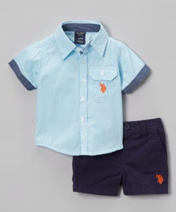 Swimming Blue Button-Up Shirt & Shorts- Toddler Boys
