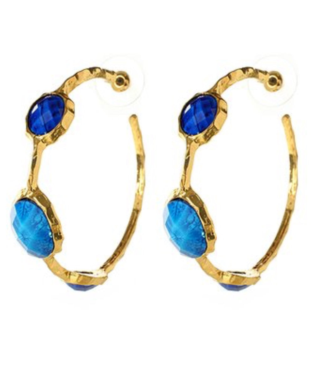 Earrings - Lapis Cleopatra Hoop Earrings