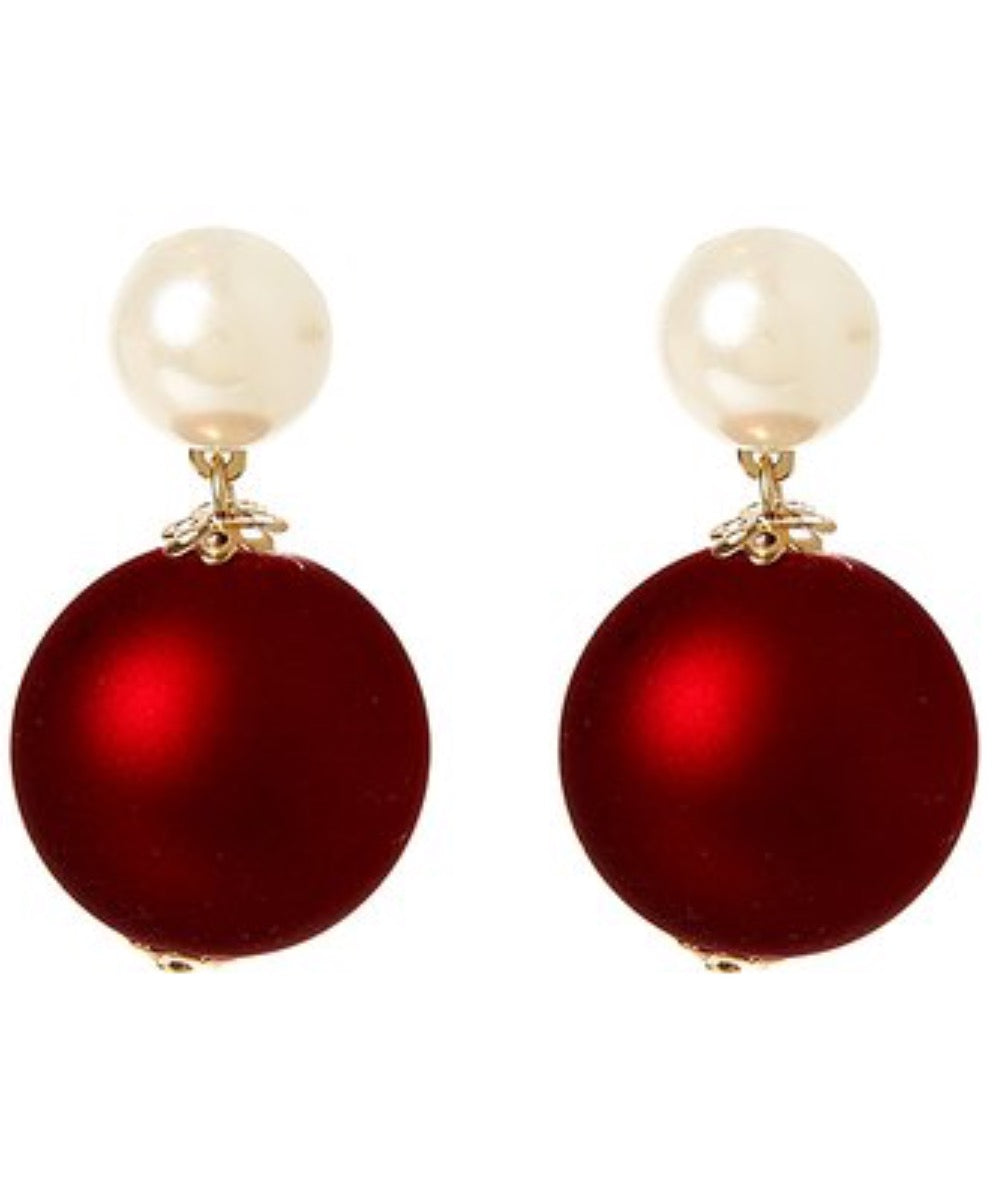 Red Cobalt Ball Drop Earrings