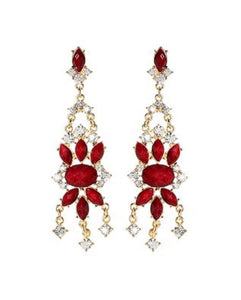 Red Austrian Crystal Mist Island Drop Earrings