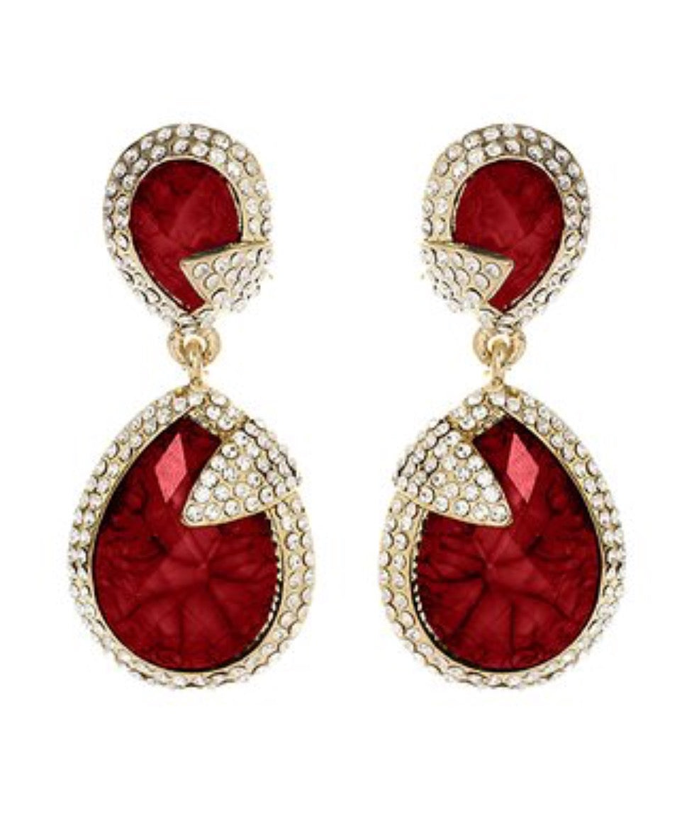 Red Austrian Crystal Pave Ricerdide Drop Earrings
