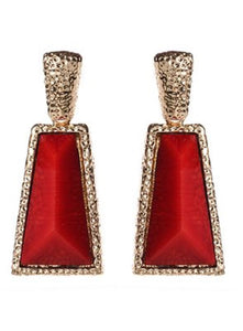 Earrings - Red Watermill Hammered Drop