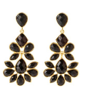 Earrings - Amrita Singh Jet Black & Goldtone Nello Drop Earrings