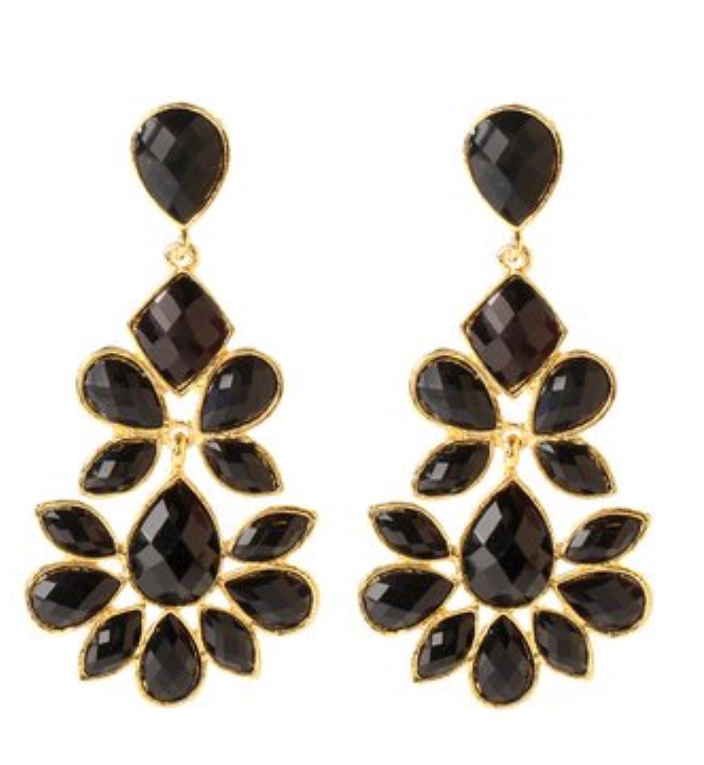 Amrita Singh Jet Black & Goldtone Nello Drop Earrings