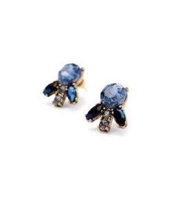 Earrings  - Blue & Gray Crystal Marquis-C Stud Earrings