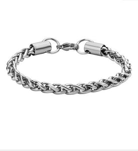 INOX Stainless Steel 5-mm Wheat Chain Bracelet