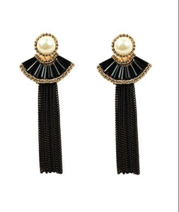 Eye Candy Imitation Pearl & Black Chain Tassel Drop Earrings