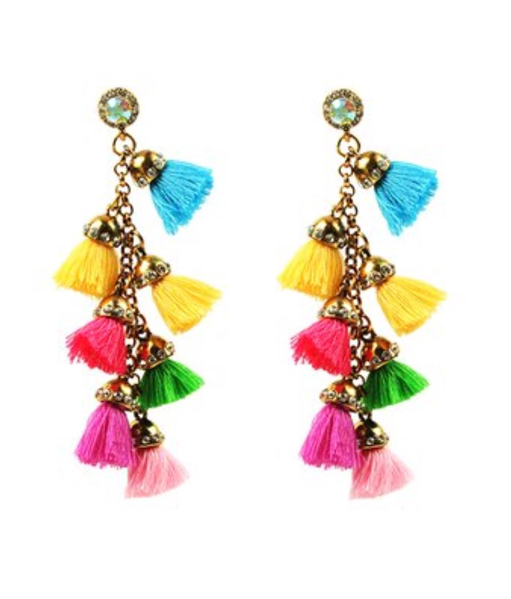 Earrings- Barcelona Tassel Drop in Goldtone