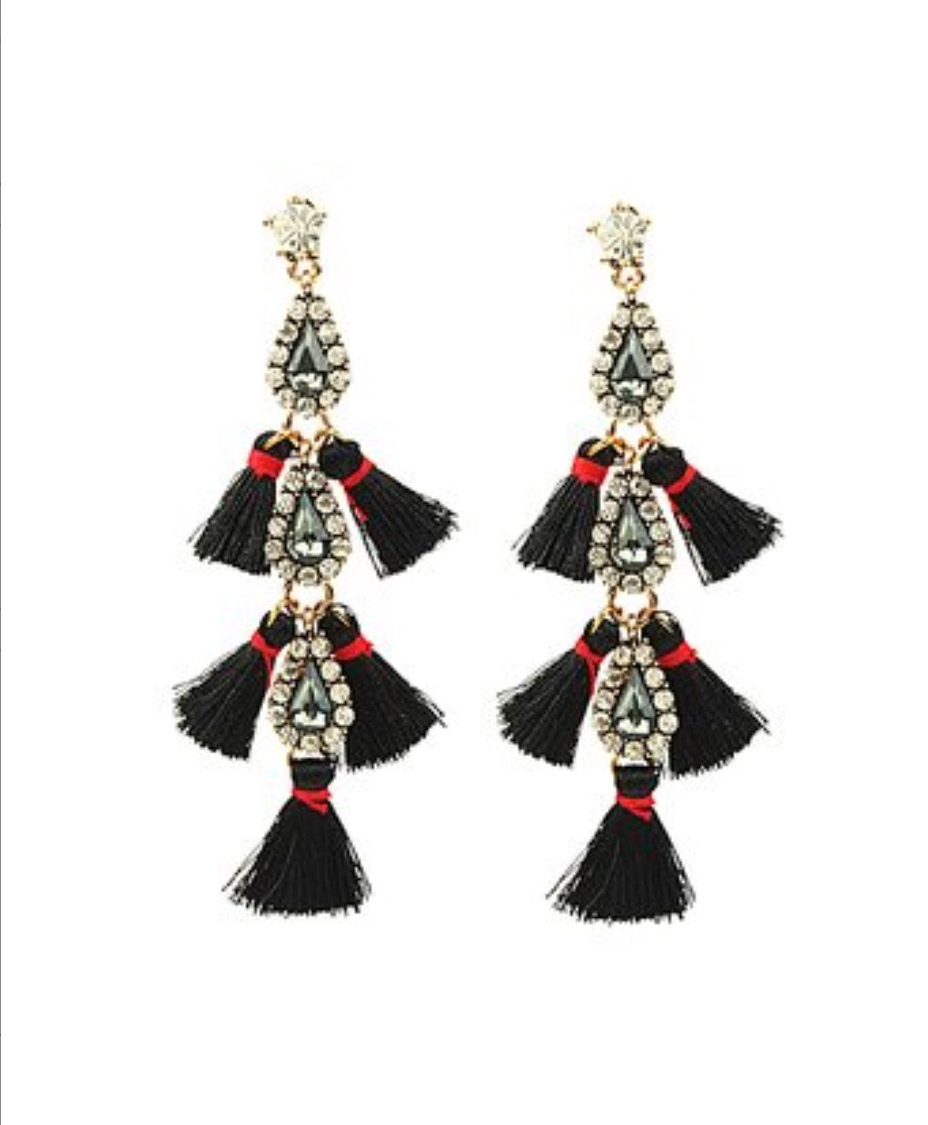 Eye Candy LA Goldtone & Black Tassel is Milan Drop Earrings