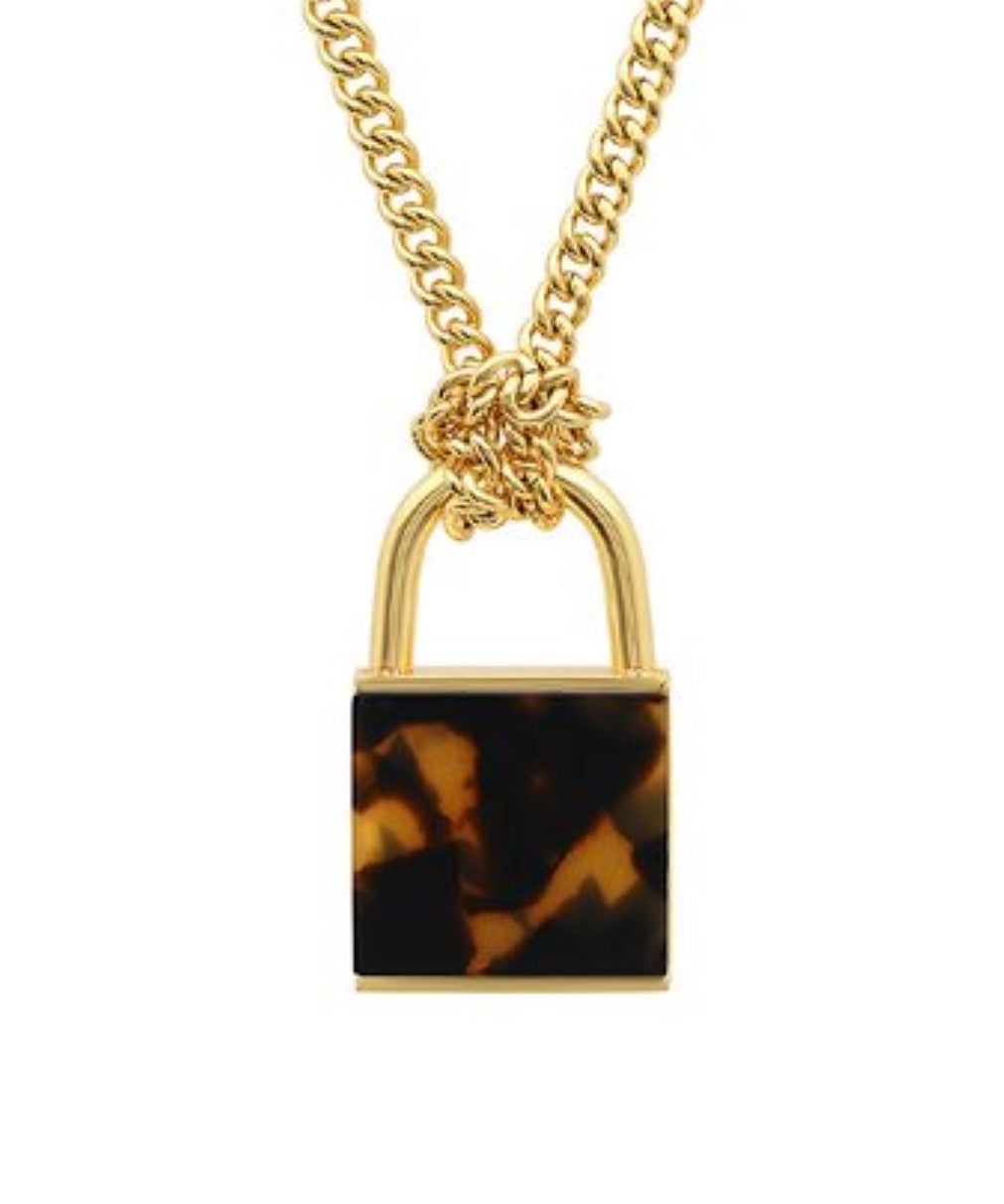 Necklace - Gold & Tortoise Locket
