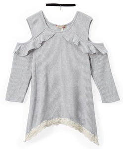 Ruffle Cutout Top & Choker Necklace