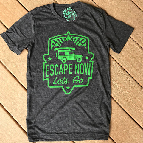 Escape Now | Lets Go -- T-Shirt (Heather Black / Lime Green)