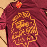 Escape Now | Lets Go -- T-Shirt (Heather Cardinal / Yellow)