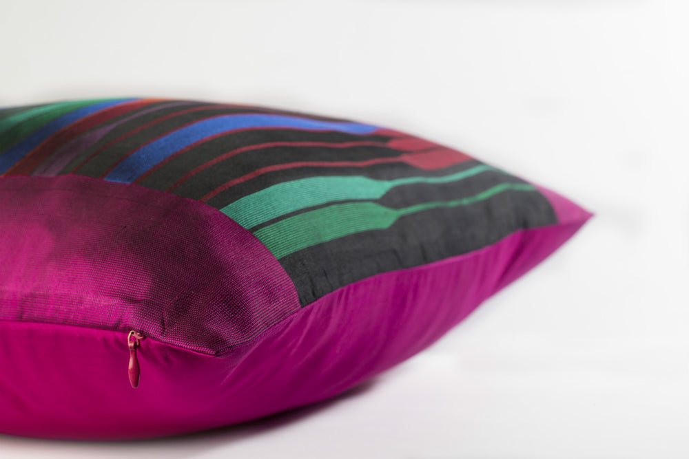Bridge Cushion - Magenta Pure Mulberry Silk 50x50cm