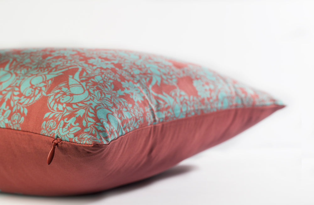 Load image into Gallery viewer, Cornice Cushion - Indian Red Pure Silk 45x45cm
