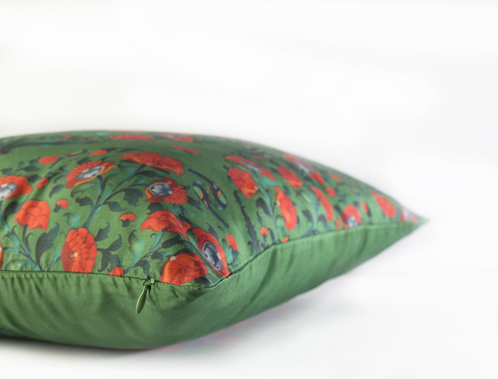 In Full Bloom Cushion - Moss Green Pure Silk 45x45cm
