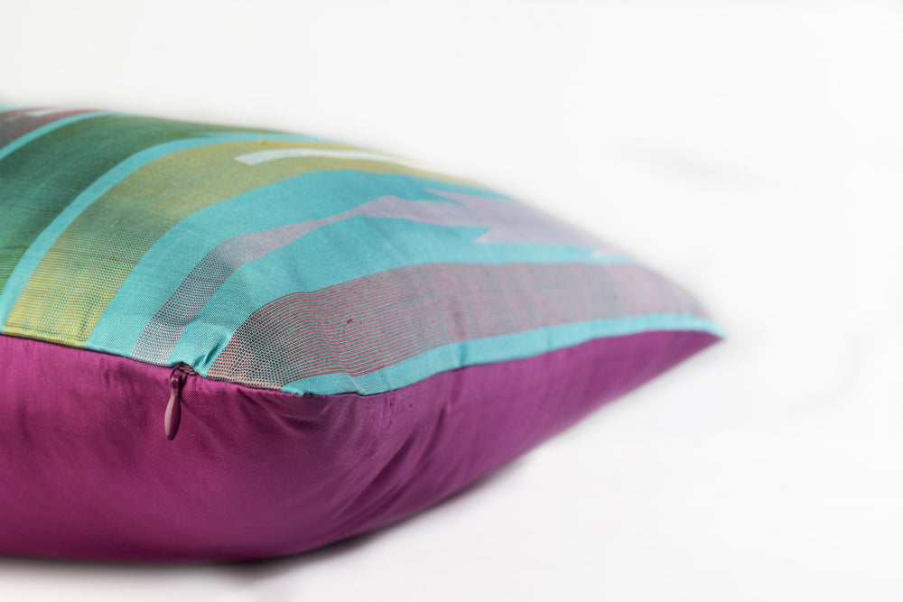 Reunion Cushion - Turquoise Pure Mulberry Silk 50x50cm