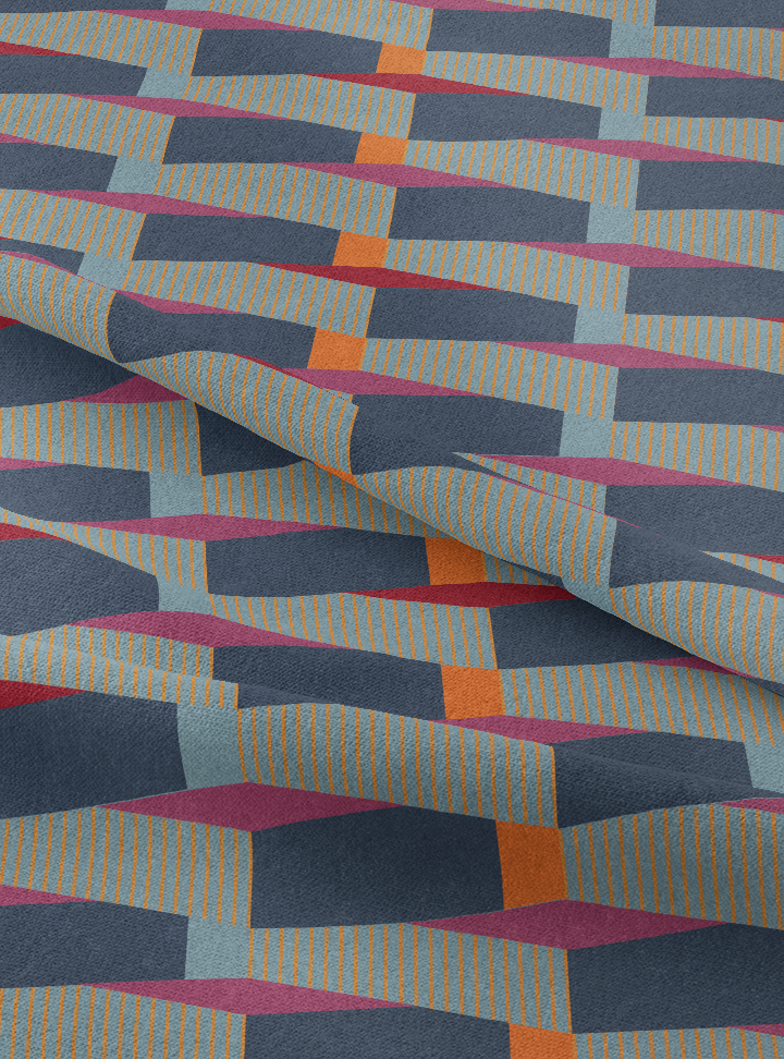 Cityscape Fabric - Profound Blue Cotton