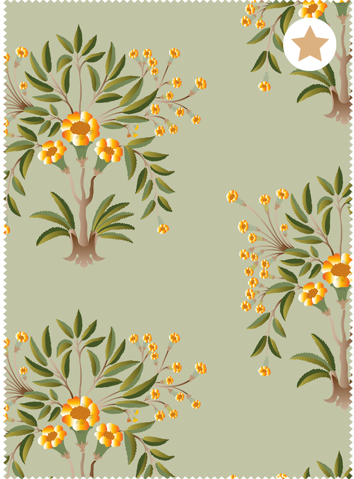 Tanjore Bouquet Fabric - Serene Green Cotton