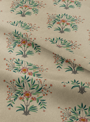 Load image into Gallery viewer, Tanjore Bouquet Fabric - Hushed Ecru Cotton