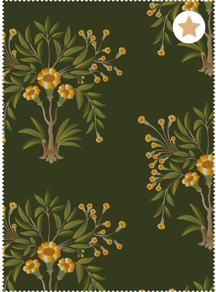 Load image into Gallery viewer, Tanjore Bouquet Fabric - Reposeful Green Cotton