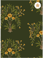 Tanjore Bouquet Fabric - Reposeful Green Cotton