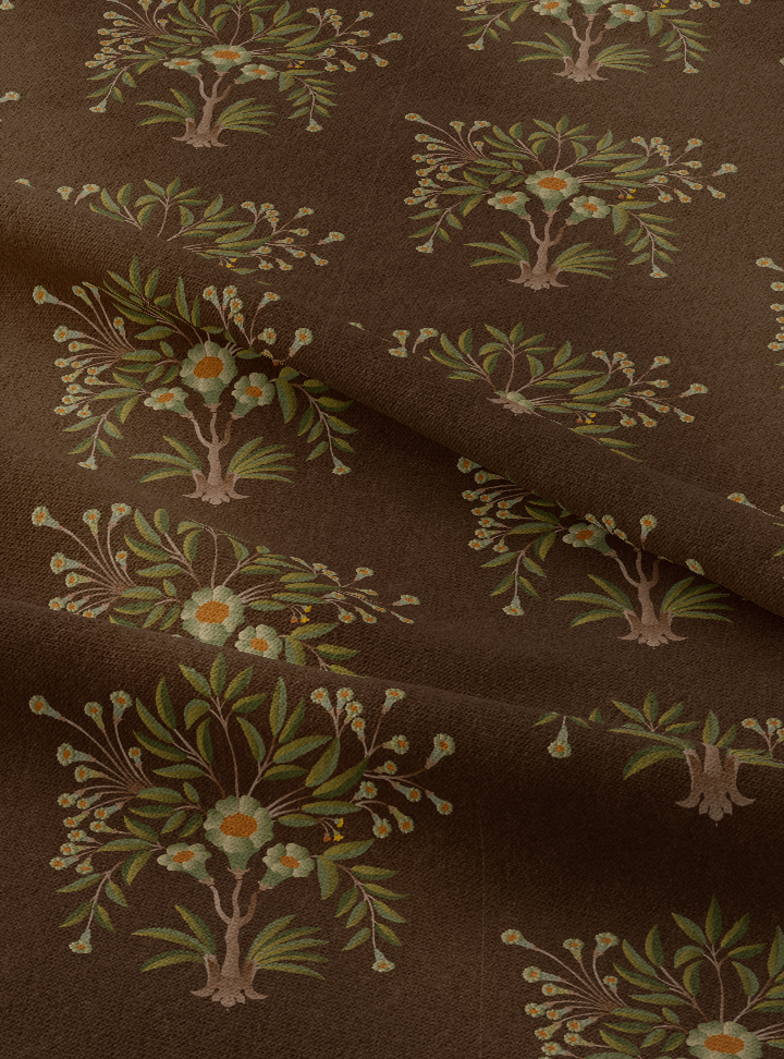 Tanjore Bouquet Fabric - Meditative Brown Cotton