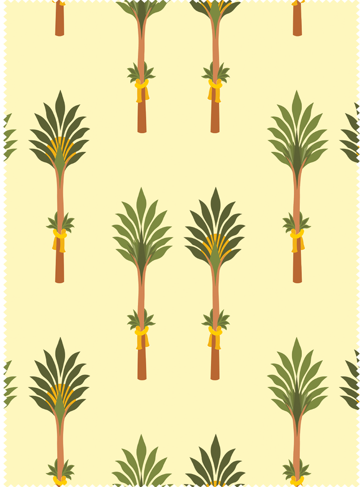 Tanjore Palm Fabric - Tranquil Yellow Cotton