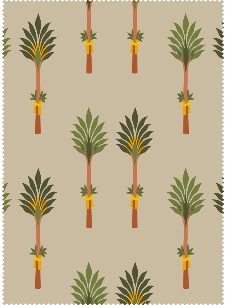 Tanjore Palm Fabric - Restful Beige Cotton