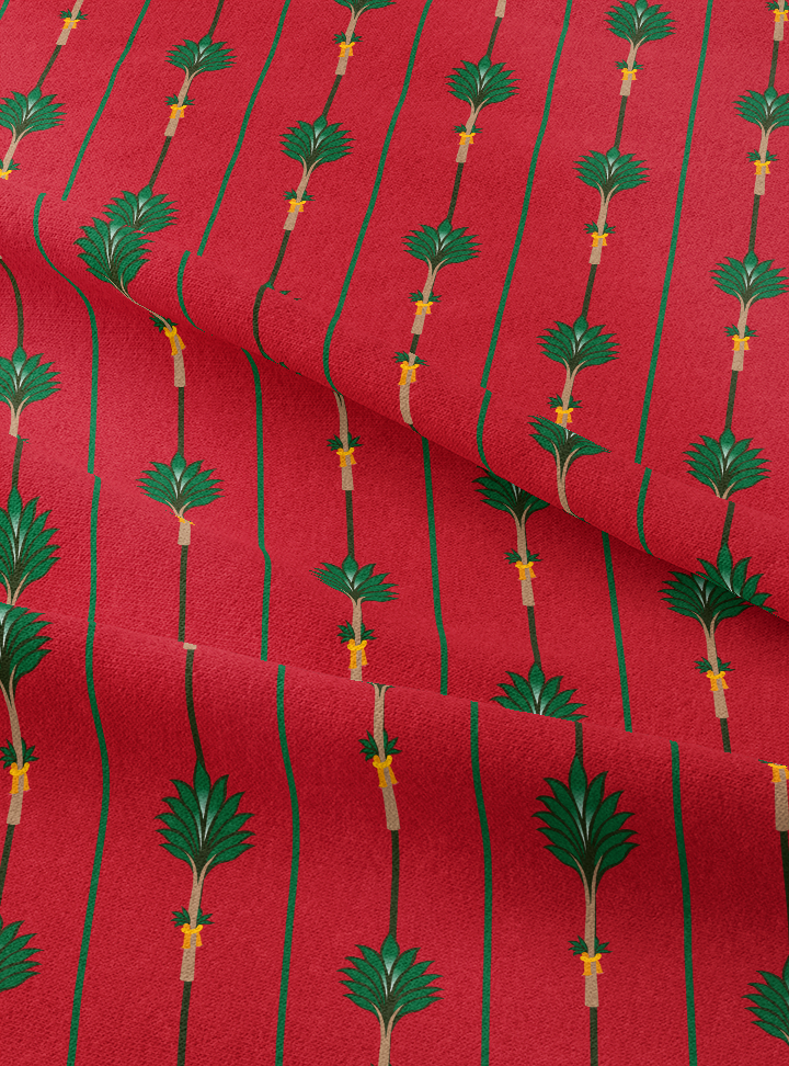 Tanjore Palm Fabric - Wedding Red Cotton
