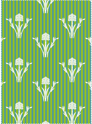 Load image into Gallery viewer, Iris Garden Fabric - Spring Green Cotton