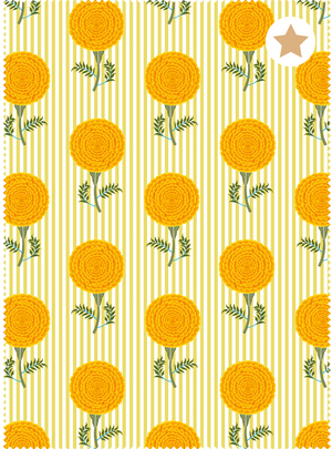 Mughal Marigolds Fabric - Golden Yellow Cotton