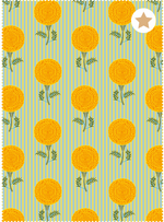 Mughal Marigolds Fabric - Mildly Blue Cotton