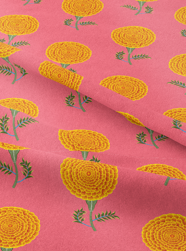Load image into Gallery viewer, Mughal Marigolds Fabric - Blossoming Pink Cotton