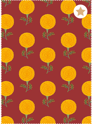 Load image into Gallery viewer, Mughal Marigolds Fabric - Araku Red Cotton