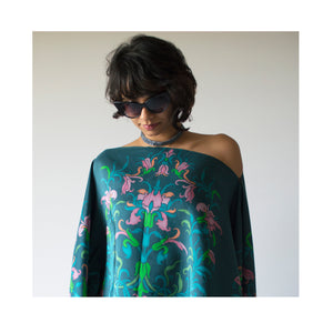 Summer Bounty Wrap - Monsoon Blue Pure Silk