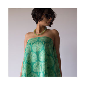 Painted Forest Wrap - Emerald Fern Pure Silk